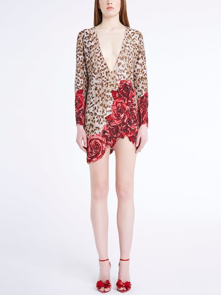 Vestito Animalier Con Rose in Paillettes