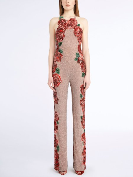 Jumpsuit with sequined roses - pink