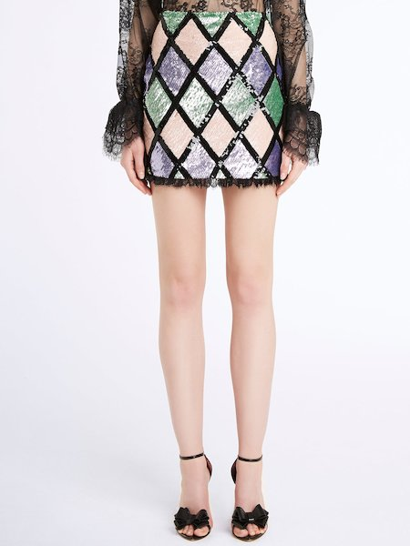 Miniskirt with sequined argyle pattern and lace