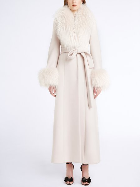 Overcoat with belt and fur - beige