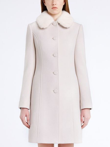 Single-breasted overcoat with mink collar - beige