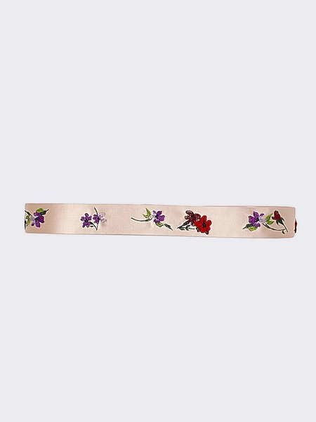 Silk belt with floral embroidery - pink