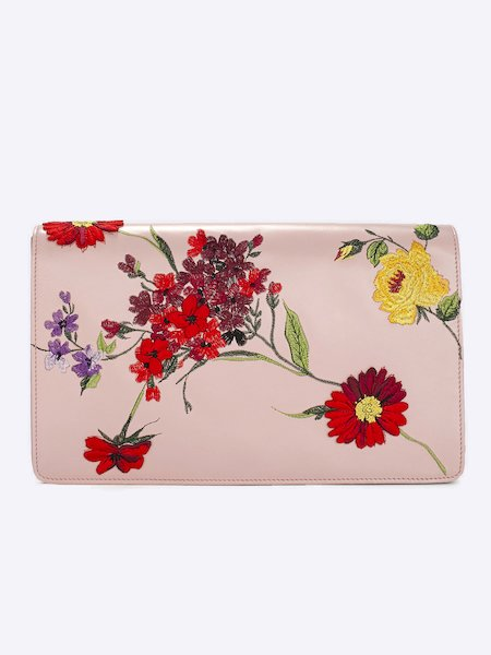 Clutch in leather with floral embroidery and logo - pink