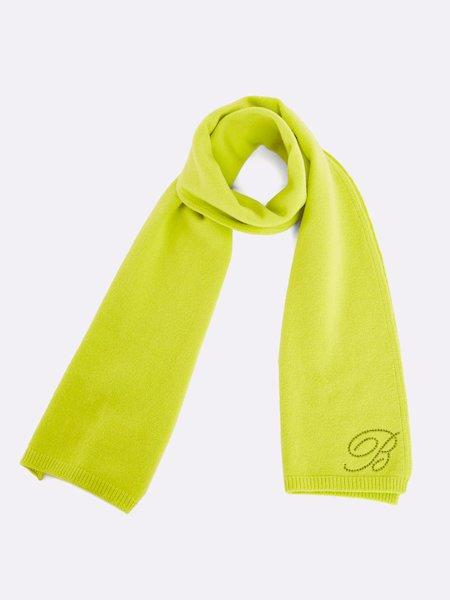 Knit scarf with embroidered rhinestone logo