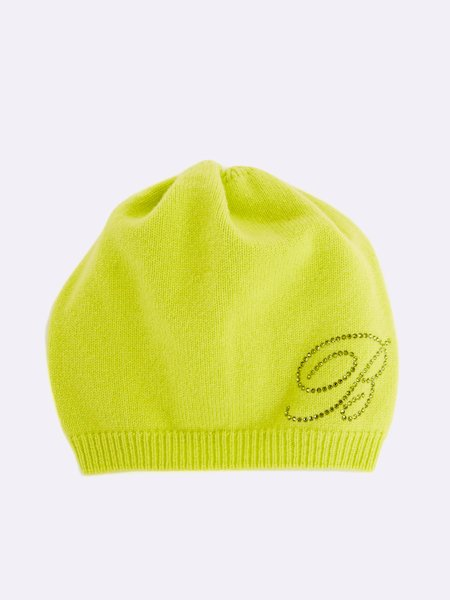 Knit beret with rhinestone logo - yellow