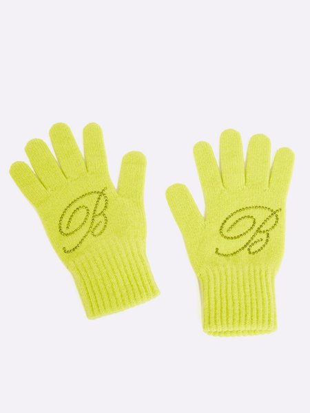 Knit gloves with rhinestone logo