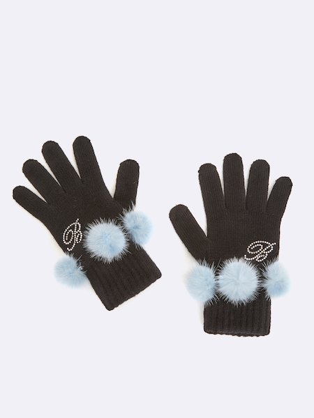 Knit gloves with pompoms and rhinestone logo - blau