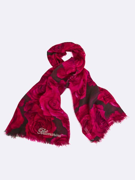Rose-print scarf with rhinestone logo