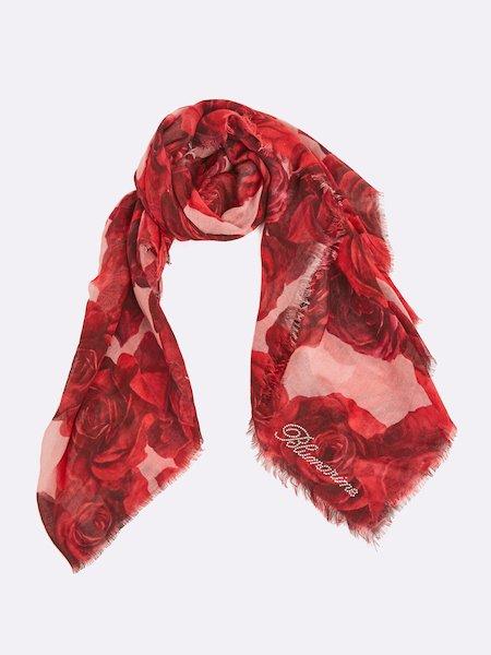 Bufanda con estampado de rosas con logo de cristalitos