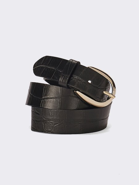 Belt embossed with crocodile pattern - Black