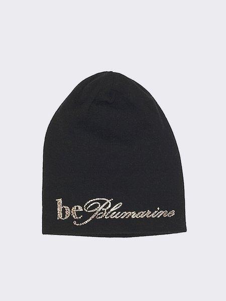 Knit beret with animalier logo