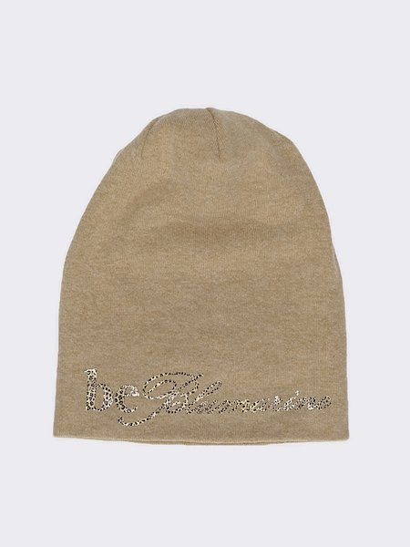 Knit beret with animalier logo