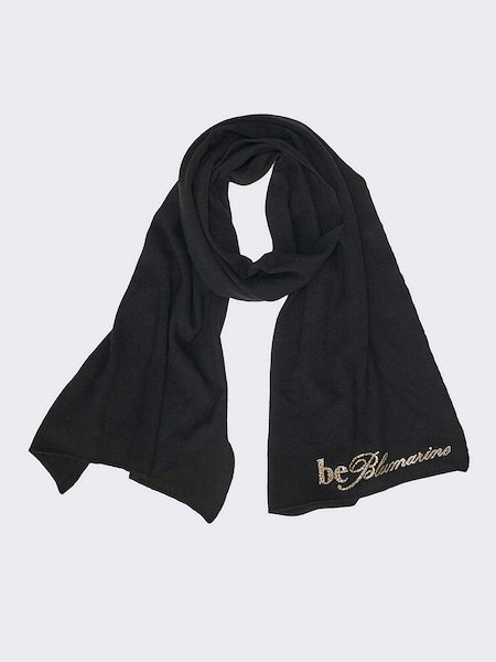 Knit scarf with animalier logo - Black