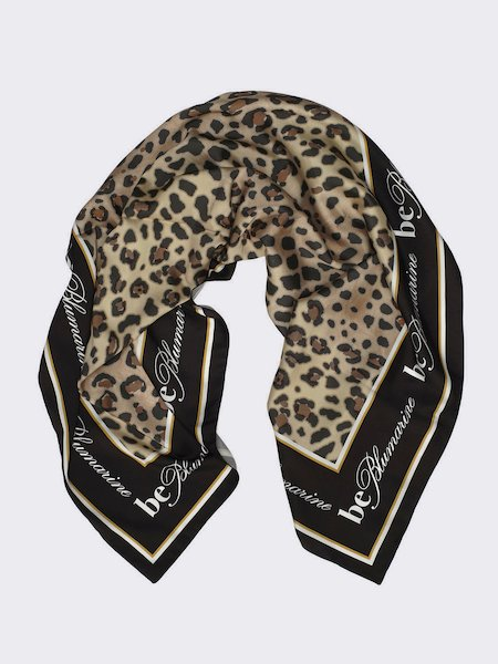 Foulard with animalier print and logo