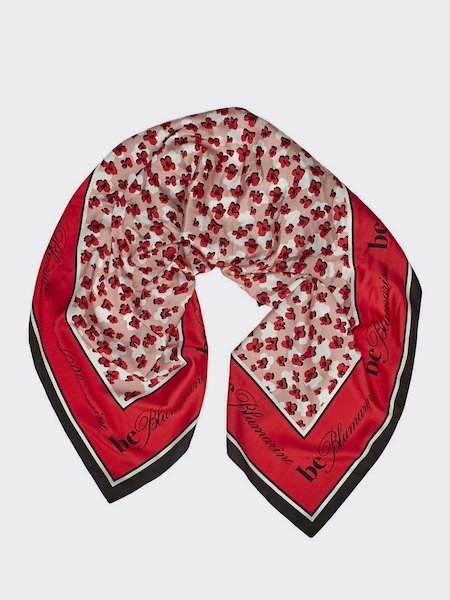 Foulard with micro-floral print and logo - pink