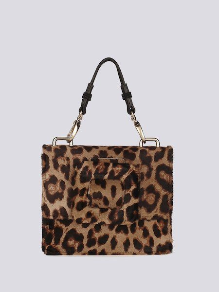 Handbag in animalier-print pony