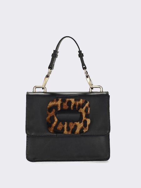 Leather handbag with animalier buckle