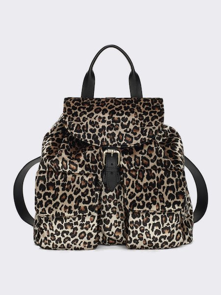 Backpack in animalier-print pony - Spotted