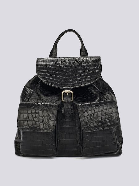 Backpack with embossed crocodile pattern - Black