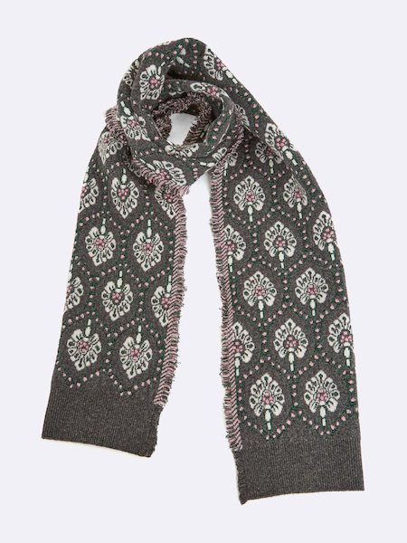 Scarf with fringe - Gris