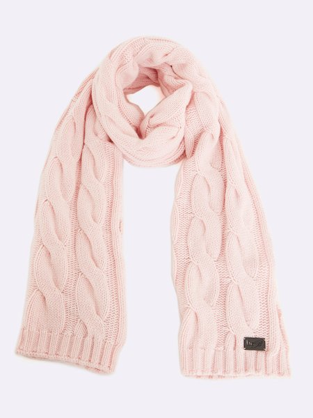Cable-knit scarf with logo - rosa