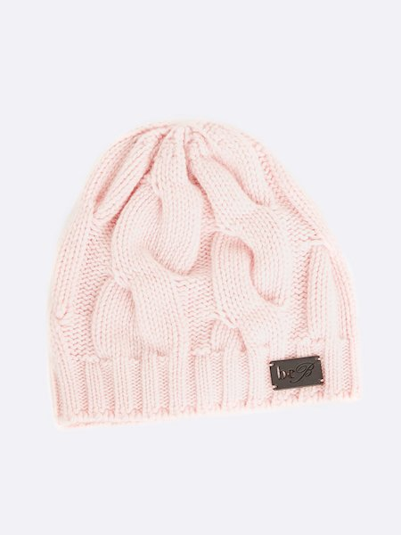 Cable-knit beret with logo - Rosa