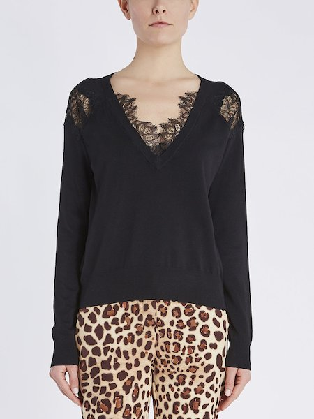 V-neck sweater with lace - Black