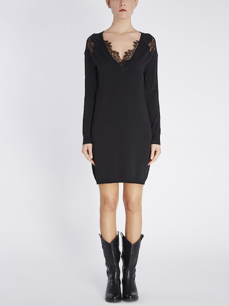 Knit dress with lace - Black