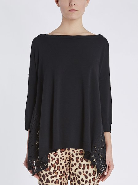 Boat neck sweater with lace - Black