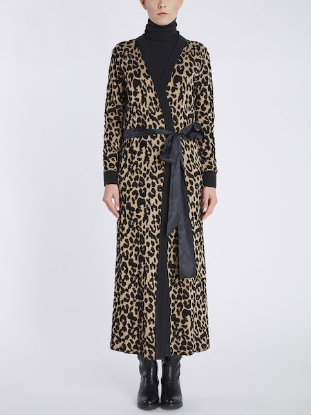Overcoat in jacquard knit with animalier motif - beige