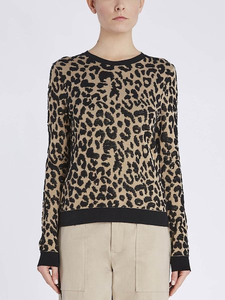 Pull col rond jacquard à motif animalier - beige
