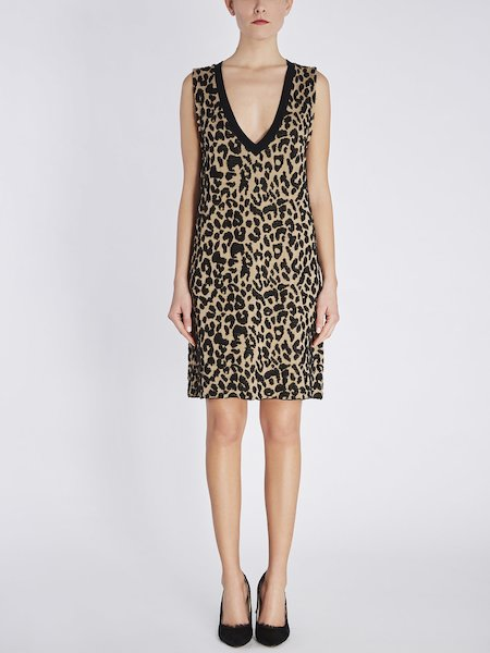 Sleeveless dress with animalier motif - beige