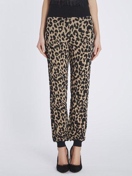 Pantaloni in Maglia a Motivo Animalier