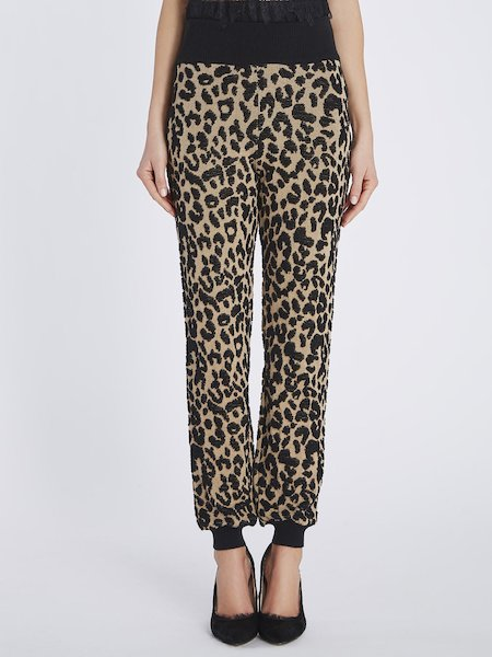 Knit trousers with animalier motif - beige