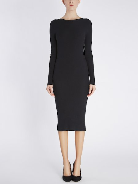 Knit midi-dress cut low in the back