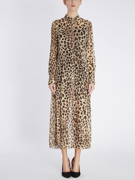 Vestito Chemisier in Georgette Stampa Animalier
