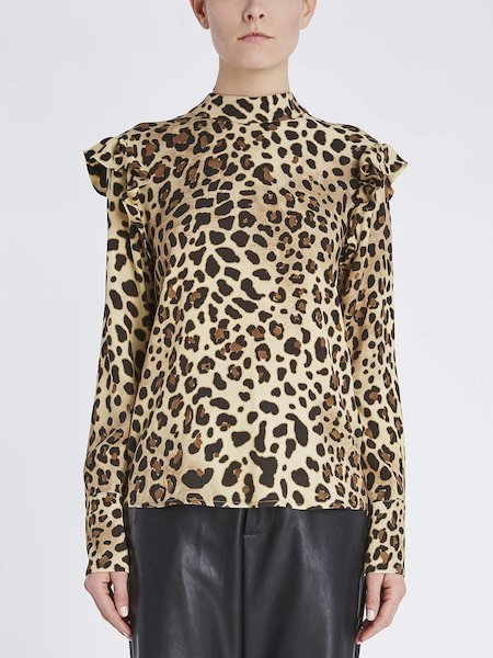 Animalier-print blouse with ruffle