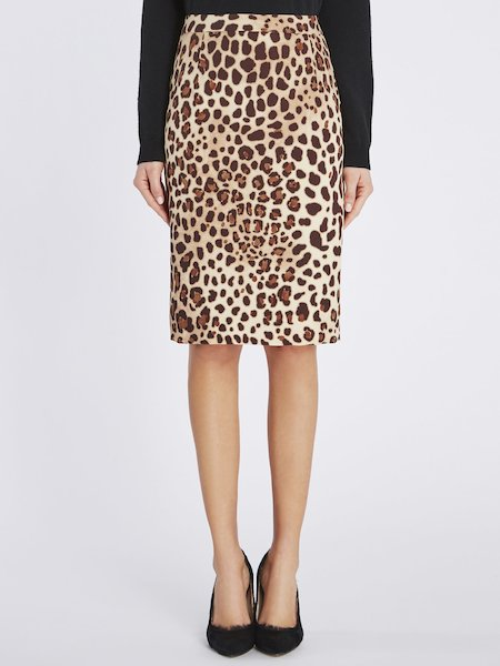 Rock im Animal-Print mit Schlitz