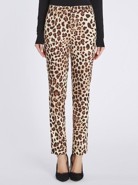 Animalier-print cigarette-leg trousers