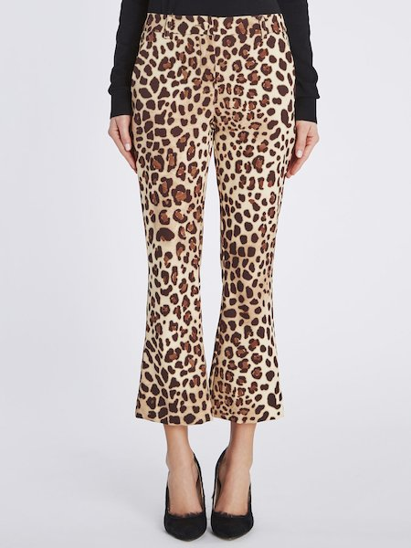 Cropped animalier-print trousers