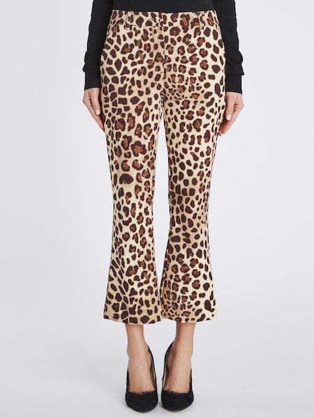 Pantaloni Cropped Stampa Animalier