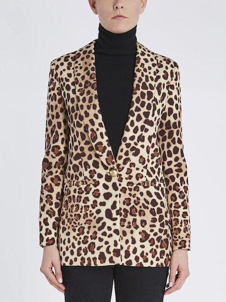 Animalier-print blazer