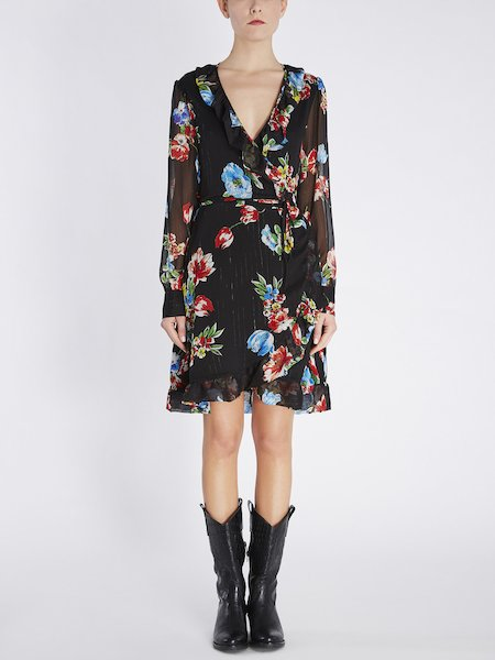 Wrap around dress with bouquet print - Black