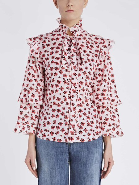 Print shirt with ribbon and flounces - pink