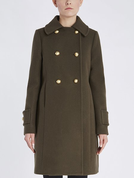 Double-breasted overcoat with metallic buttons