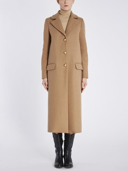 Overcoat with lapels - beige