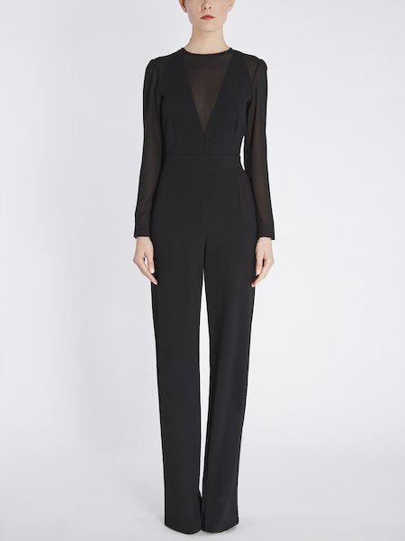 Jumpsuit with georgette insets - Black