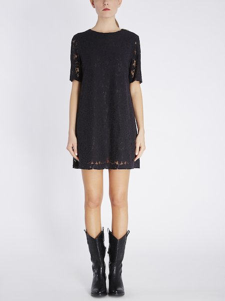 Short-sleeved dress in lace - Black