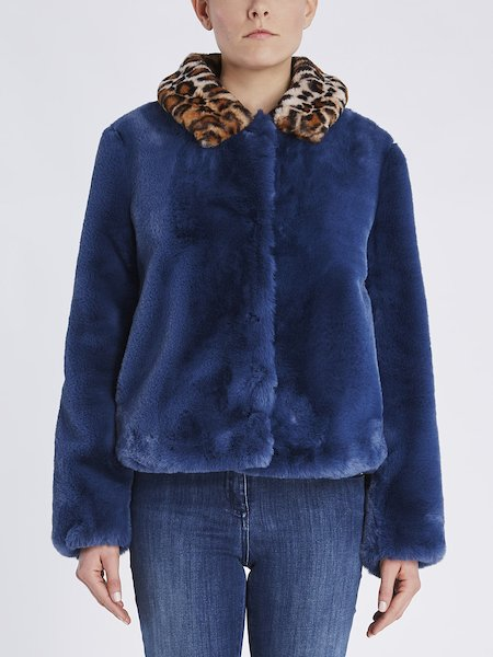Bomber in Ecopelliccia Con Colletto Animalier - Blu