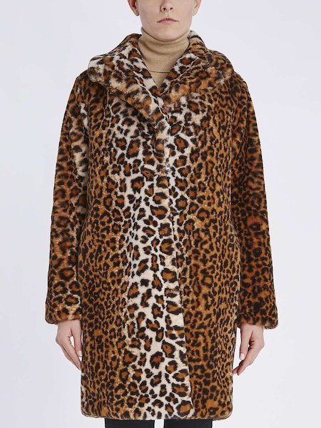 Mantel aus Webpelz im Animal-Print - Spotted